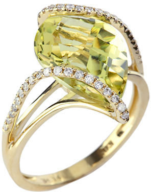 EFFY 14Kt. Yellow Gold Lemon Quartz & Diamond Ring