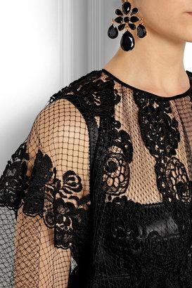 Dolce & Gabbana Crocheted lace-appliquéd net gown