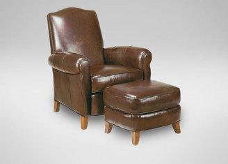Ethan Allen Paloma Leather Ottoman