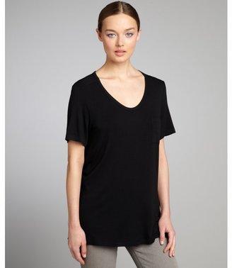 Wyatt black jersey knit pocketed short sleeve t-shirt