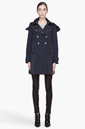 Moncler S Navy and silver-buttoned layered Hinata Coat