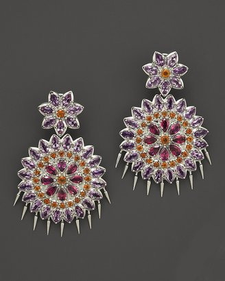 Paul Morelli Applique Large Spiral Double Dangle Earrings with Rhodolite, Amethyst and Madeira Citrine