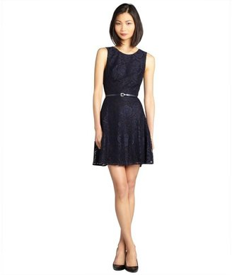 Ali Ro midnight blue and black belted lace sleeveless dress