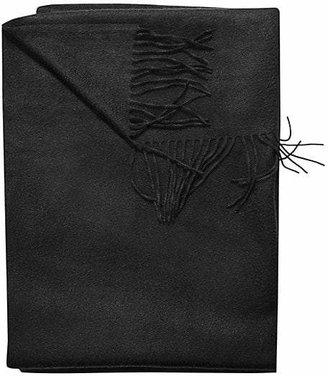 Sofia Cashmere Woven Fringe Throw - Black
