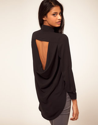 TFNC Drape Open Back Shirt