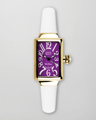 Glam Rock Miami Beach by Small Rectangle Silicone Watch, Gold