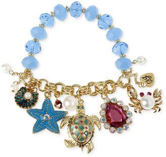 Betsey Johnson Bracelet, Gold-Tone Turtle Multi-Charm Half Stretch Bracelet