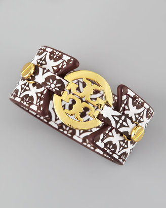 Tory Burch Logo Double-Snap Cuff, Brown/Ivory