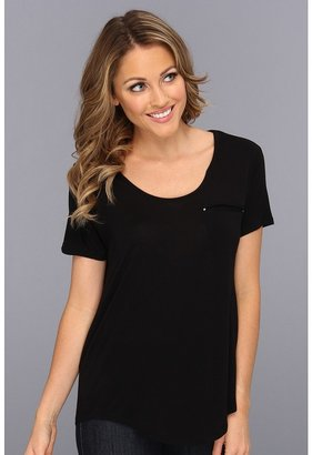 Vince Camuto TWO by S/S High Low Tee (Rich Black) - Apparel