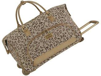 JLO by Jennifer Lopez cheetah jacquard wheeled city bag