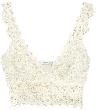 Alberta Ferretti Cropped lace and silk top