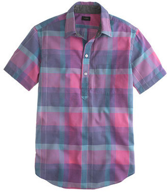 J.Crew Indian cotton short-sleeve popover in faded plaid