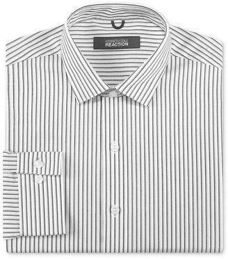 Kenneth Cole Reaction Dress Shirt, White and Grey Stripe Long-Sleeved Shirt