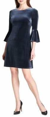 Tommy Hilfiger Bell-Sleeve Velvet Sheath Dress