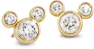 Disney Diamond Mickey Mouse 14K Earrings - Medium