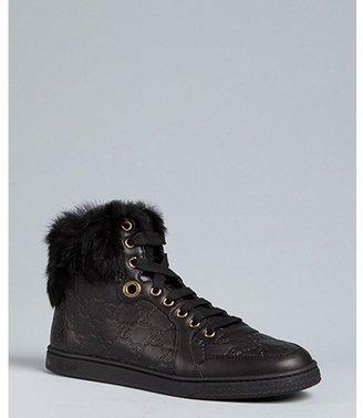 Gucci black guccissima leather 'Coda' rabbit fur trimmed high top sneakers