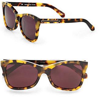 Karen Walker Modified Cat's-Eye Sunglasses/Crazy Tortoise