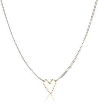"Jane Hollinger Moving Shapes"" Mixed Metal Medium Heart Necklace"
