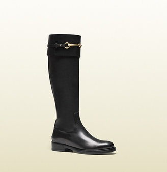 Gucci Jamie Black Leather Riding Boot