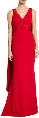 Marchesa V-Neck Shoulder Drape Satin Back Crepe Gown