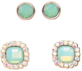 Betsey Johnson Blue Rose Gold Boost Crystal Earring Set (Blue/Rose Gold) - Jewelry