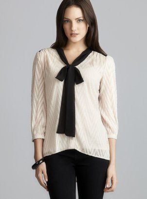 Romeo & Juliet Couture Long Sleeve Cream Tie Neck Georgette Blouse