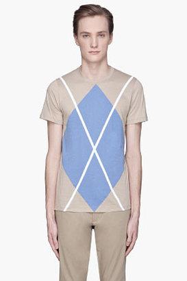 Kris Van Assche KRISVANASSCHE Khaki and blue oversize argyle T-Shirt