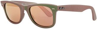 Ray-Ban Wayfarer Sunglasses with Mirrored Lenses, Iridescent Green