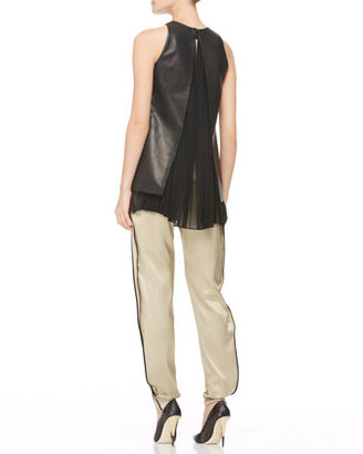 ADAM by Adam Lippes Pleated Silk-Inset Leather Top, Black