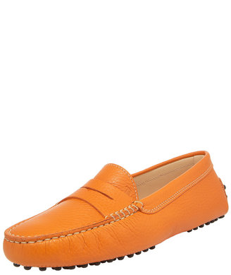 Tod's Gommini Pebbled Moccasin, Orange