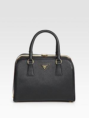 Prada Saffiano Borsa Cerniera Top Handle Bag