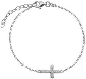 Lord & Taylor Silver-Tone & Crystal Cross Pendant Bracelet
