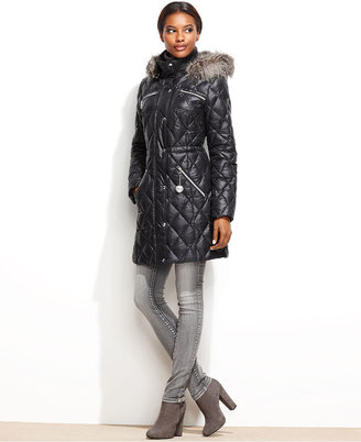 GUESS Coat, Hooded Faux-Fur-Trim Quilted Puffer