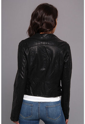 Members Only P.U. Biker Jacket w/ Faux Mongolian Fur Trim