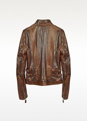 Forzieri Brown Python Leather Motorcycle Jacket