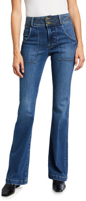 Frame Le High Flare Jeans with Patch Pockets