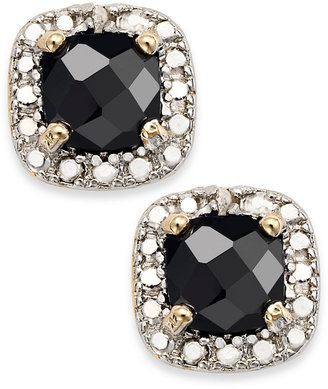 Townsend Victoria 18k Gold over Sterling Silver Earrings, Sapphire (1-1/2 ct. t.w.) and Diamond Accent Cushion-Cut Stud Earrings