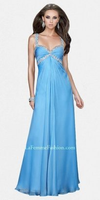 La Femme Beaded Ruched Bodice A-line Evening Dresses