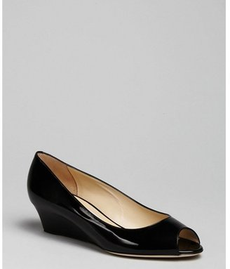 Jimmy Choo black patent leather 'Bergen' peep toe wedges