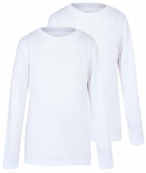 George Boys White Crew Neck Long Sleeve School T-Shirt 2 Pack