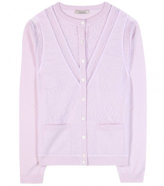 Nina Ricci Lace-panelled wool and cashmere-blend cardigan