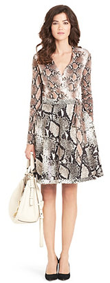 Camo Amelia Silk Combo Flared Wrap Dress