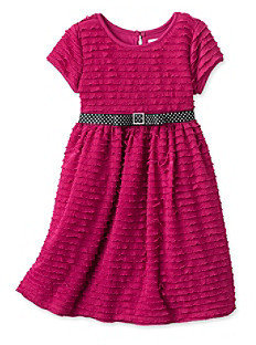 Sweet Heart Rose Girls' 2-6X Pink Eyelash Dress with Polka-Dot Bow