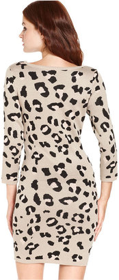 Takeout Juniors Dress, Three-Quarter-Sleeve Animal-Print Sweater