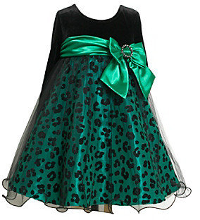Bonnie Jean Girls' 4-6X Green/Black Animal Print Dress