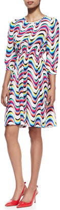 Kate Spade Wavy Striped 3/4-Sleeve Dress