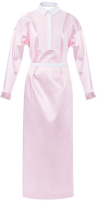 Prabal Gurung Bonded Satin Shirtdress With Cutout Back