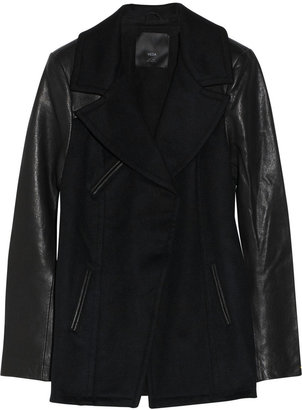 Veda Gloria leather-sleeved wool jacket