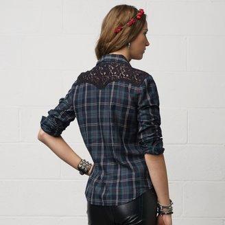 Denim & Supply Ralph Lauren Plaid Lace-Trim Cowgirl Shirt