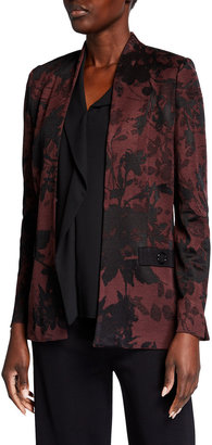 Misook Plus Size Floral Intarsia Jacket with Button Detail